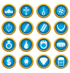 Jewelry items icons blue circle set vector