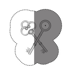 sticker grayscale with silhouette of crossed vector image
