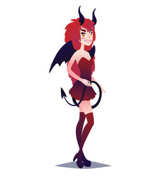 devil girl cute young woman in style of mystic vector image