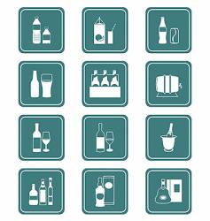 drinks icons teal series vector image