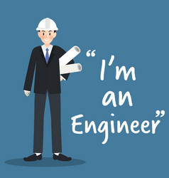 engineer character with architectural project on vector image