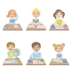 Kids Behind the Desks In School Set vector image vector image