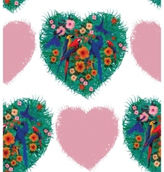 Macaw hearts seamless pattern Hand drawn vector image vector image