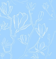Magnolia Flowers on a Pastel Blue Background vector image vector image