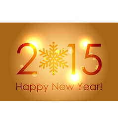 - Happy New Year 2015 - gold glowing background vector image