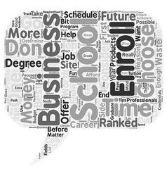 business school text background wordcloud concept vector image vector image