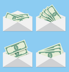 cash in envelope salary of set vector image