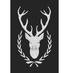 Deer in laurel wreath chalk vector image vector image