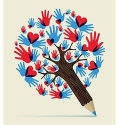 Love hands concept pencil tree vector image vector image