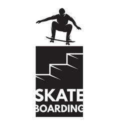 skateboarder athlete in jump as a badge on the vector image vector image