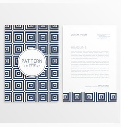 stylish letterhead design with square patterns vector image vector image