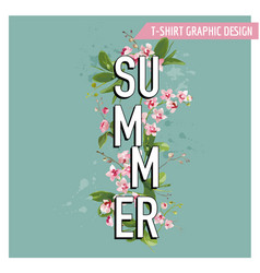 tropical palm leaves and orchid flowers summer vector image