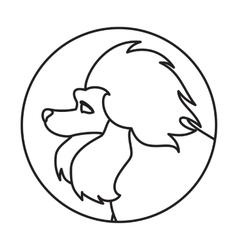Dog head in a linear style vector