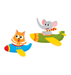 funny animal pilot characters flying on airplane - vector image