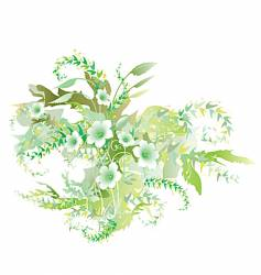 green flowers vector image