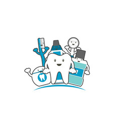 happy family of healthy teeth and friend vector image vector image