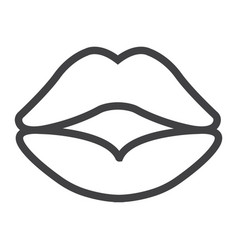red lips line icon valentines day and romantic vector image