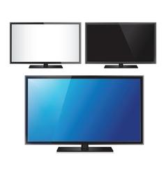 Set of three TV flat screen lcd plasma realistic vector image