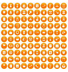 100 calendar icons set orange vector