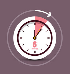 6 six minutes retro clock icon vector image