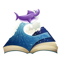 A book with an image of a wave and a shark vector