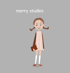 A cute smiling school girl with a brown plaits and vector