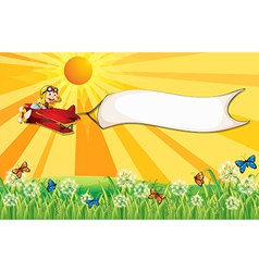 A monkey on a plane with a white banner vector