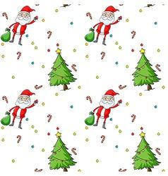 a seamless design showing santa and christmas vector image