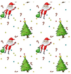 A seamless design showing Santa and the christmas vector image