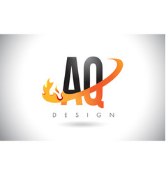 Aq a q letter logo with fire flames design vector