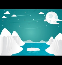 Artic landscape with icebergs in ocean mountain vector