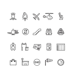 Aviation outline icons set vector image