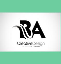 Ba b a creative brush black letters design vector