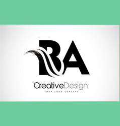 Ba b a creative brush black letters design with vector