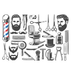 Barbershop haircut and shave equipment icons vector
