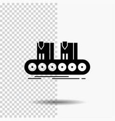 belt box conveyor factory line glyph icon on vector image