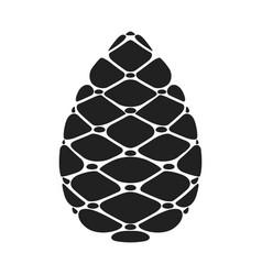 black silhouette pinecone flat cartoon icon vector image