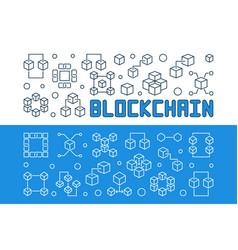 blockchain technology outline banners set vector image