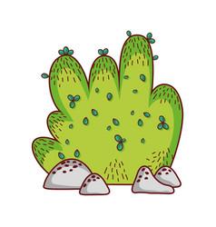 bush vegetation botanical cartoon isolated icon vector image