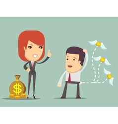 Business woman teaches how to save money vector