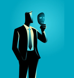 Businessman holding a mask in front of his face vector