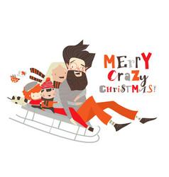 cartoon happy family enjoying sleigh ridefamily vector image