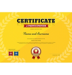Certificate Participation Sport Trophy yellow vector
