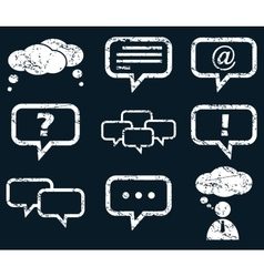 Chat icon set white grunge vector