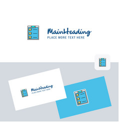 checklist logotype with business card template vector image