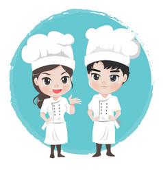 chef boy and girl vector image