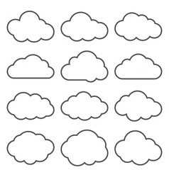 Cloud Shapes collection Set of Thin Line Cloud vector