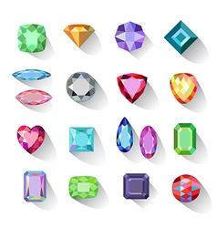 Colored gems jewelry icons vector image