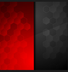 contrast red black geometric hexagons background vector image