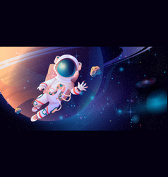 Cosmonaut astronaut on orbit exploring outer space vector
